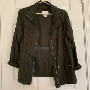 Olive linen utility jacket Old Navy size small